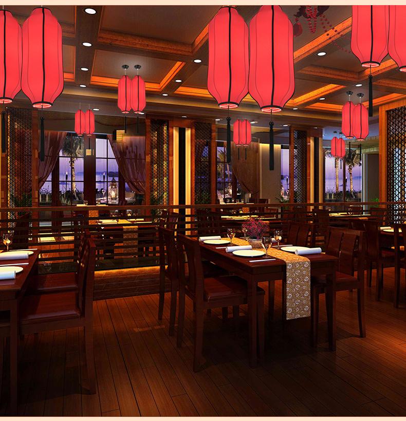 爱尔蒂尼 新中式吊灯现代简约手绘布艺灯笼吊灯仿古茶馆餐厅会所吊灯