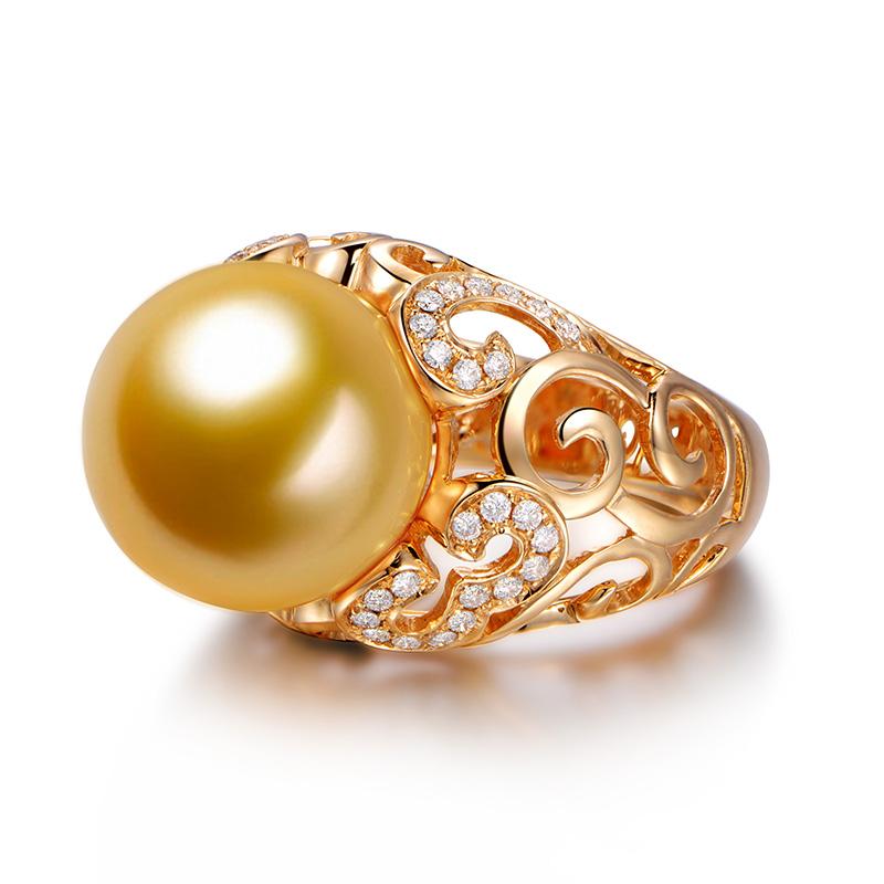 米润珠宝12mm南洋金珠戒指 18k黄金镶钻戒 条纹女戒