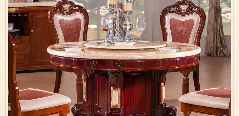 梦美斯宣家具 新品欧式餐桌椅实木圆桌 天然米黄玉整板大理石餐桌8511图片
