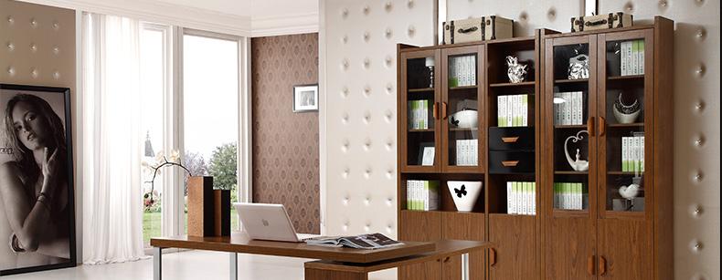 金写意 电脑桌 书桌子 办公桌 木书桌 801 白枫木色书柜5门