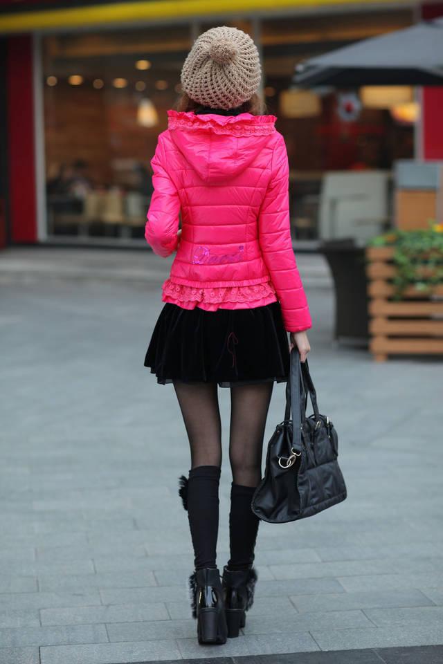 女装外套蕾丝花边连帽短款小棉衣棉服棉袄b511cb8377