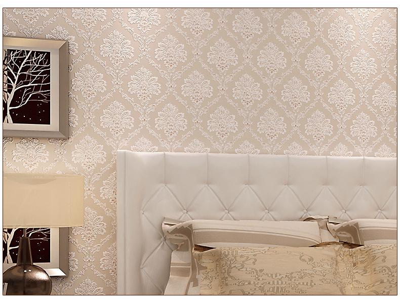 九龙壁纸大马士革墙纸卧室温馨欧式壁纸立体欧花环保无纺布客厅电视图片