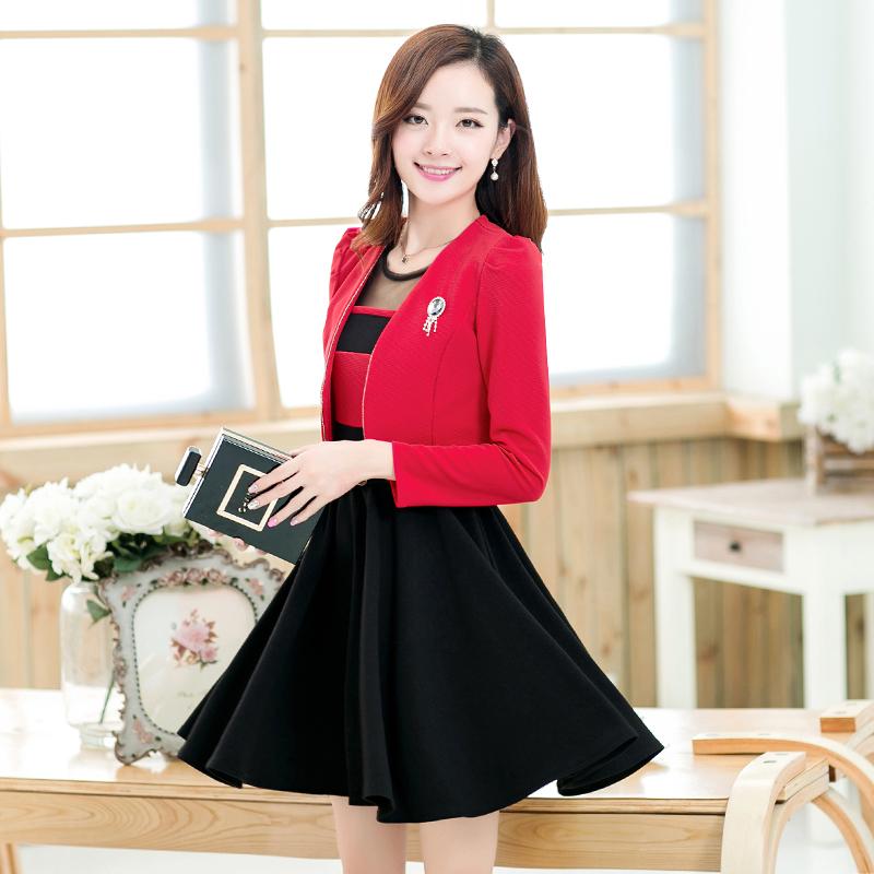 2014秋装新款两件套针织背心裙加外套两穿长袖百褶大摆套裙b306b 红