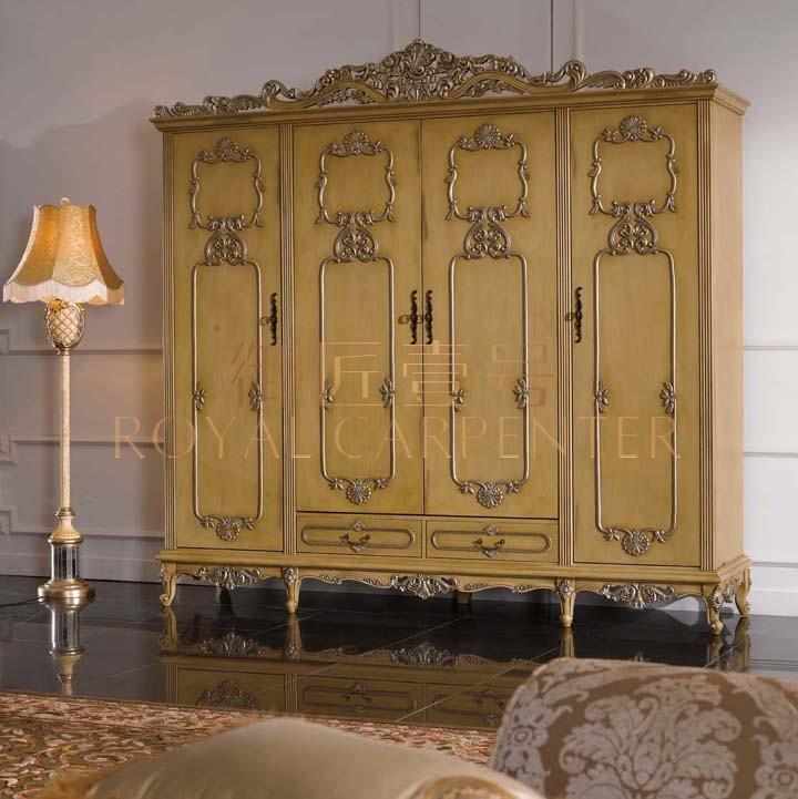 御匠壹号 美式欧式家具 卧室奢华衣柜 全木雕花衣柜 四门大衣柜图片