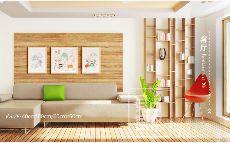 手绘茶歇 装饰画沙发背景墙三联画客厅现代
