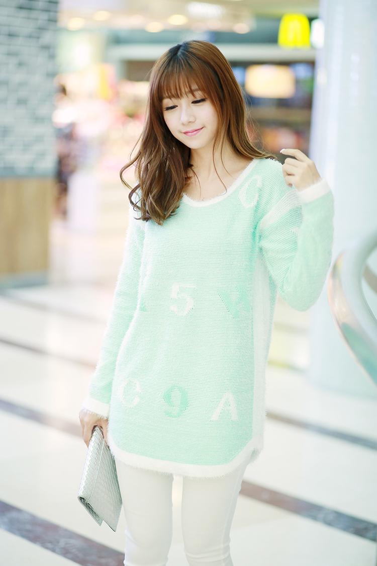 2014韩版学院甜美可爱系列字母数字长毛衫套头毛衣b360d30#8708 蓝色