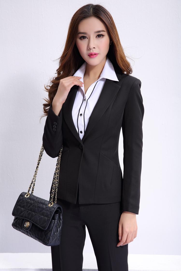 装_秋冬新款女装 通勤时尚修身长袖小西装韩版ol风职业套装 黑外套 黑