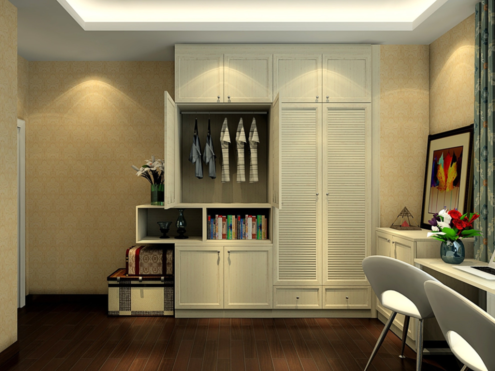 尚品宅配 衣柜定制 整体衣柜 床 矮柜 梳妆台 免费家具设计 卧房家具图片