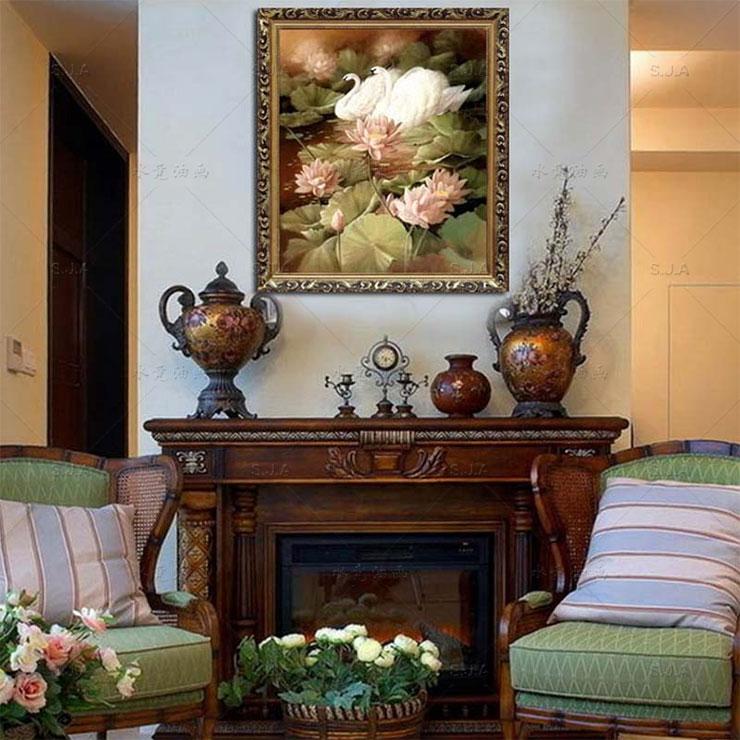 水竞纯手绘油画有框画客厅别墅玄关壁炉入户花园装饰挂画荷花天鹅之恋