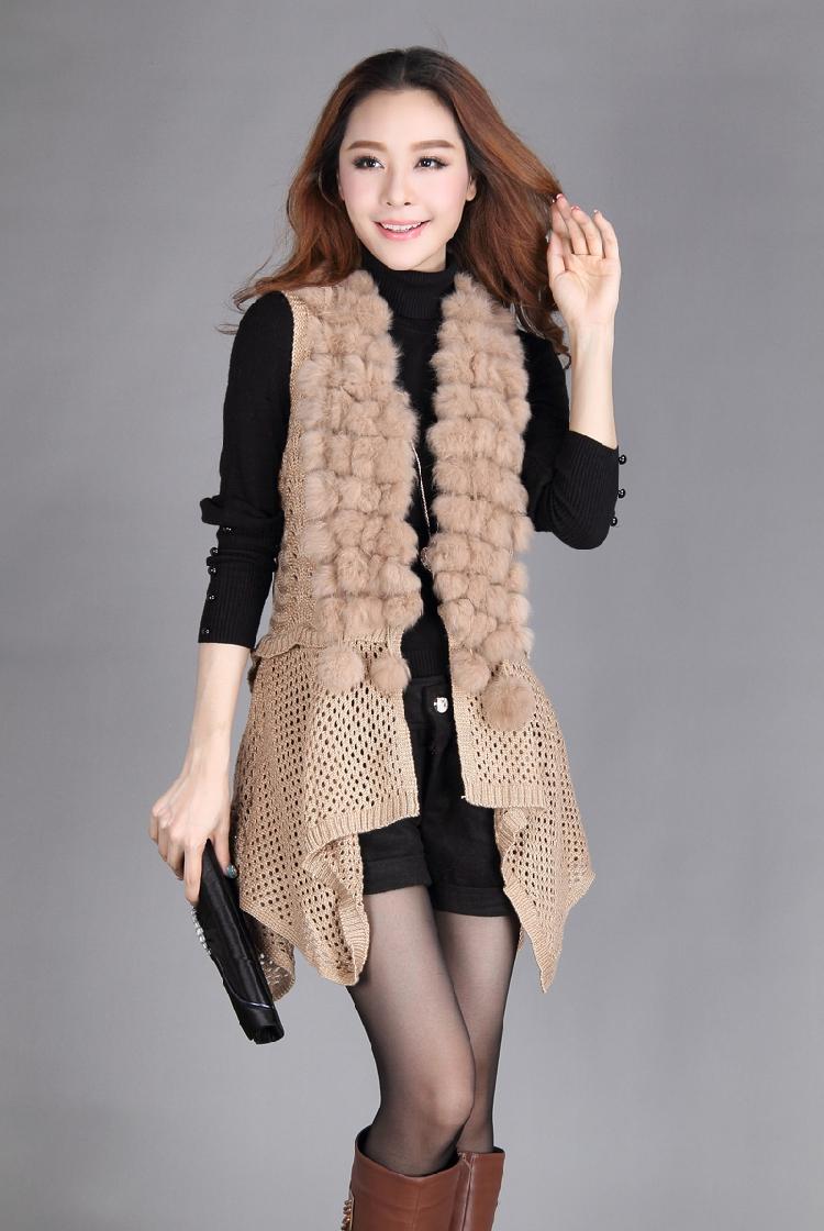 秋冬仿兔毛球毛领披肩针织开衫马夹 皮草外套背心马甲