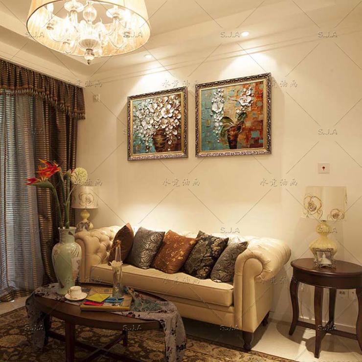水竞客厅装饰画油画手绘壁画欧式卧室床头墙画餐厅美式挂画 c款 80*80