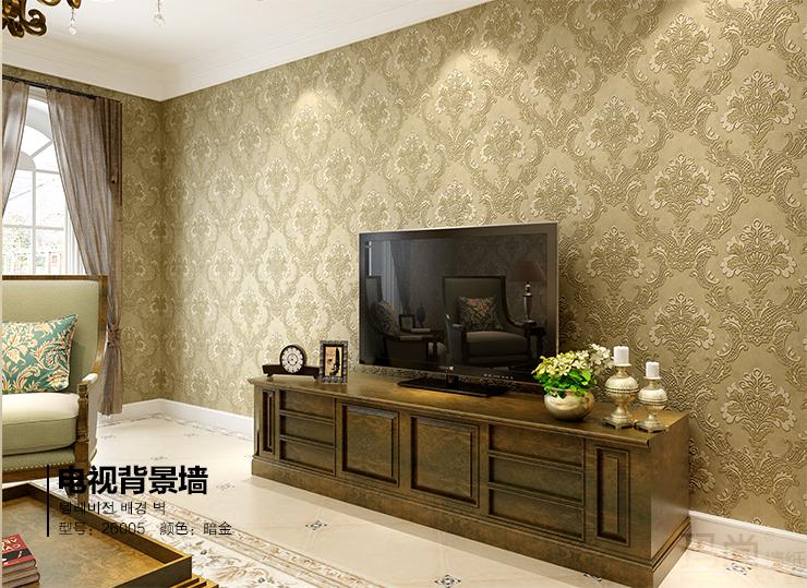 玛尚墙纸 简约欧式无纺布客厅电视背景墙壁纸 3d立体浮雕卧室1436 暗图片