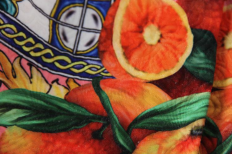蓝雨蝶依*2014秋冬新款时尚气质对称绿色印花水果外套图片