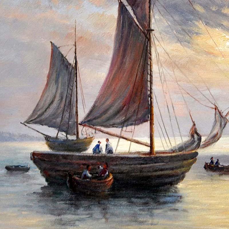 油画手绘 一帆风顺 客厅卧室餐厅欧式厚油风景海景刀画家居装饰画40