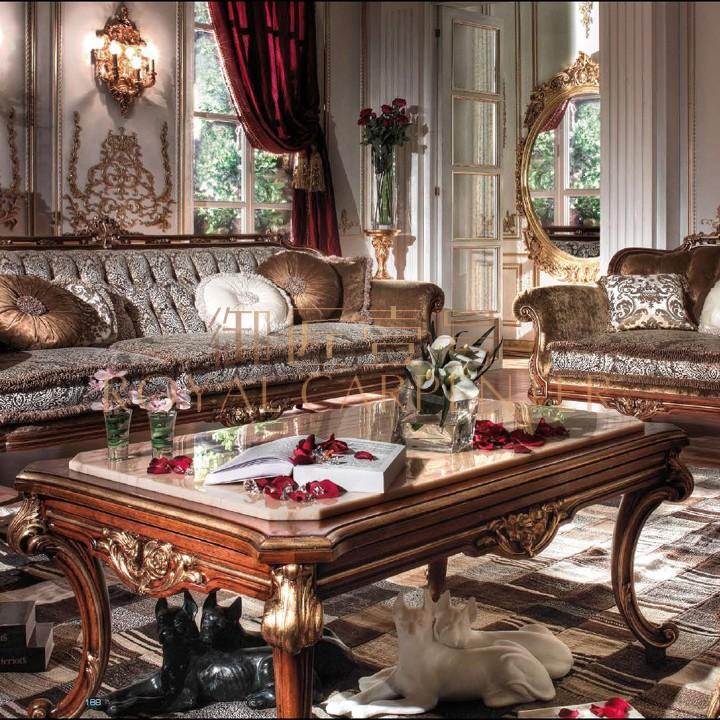 御匠壹号 意大利客厅家具 实木雕刻大理石 茶桌 长茶几 咖啡桌