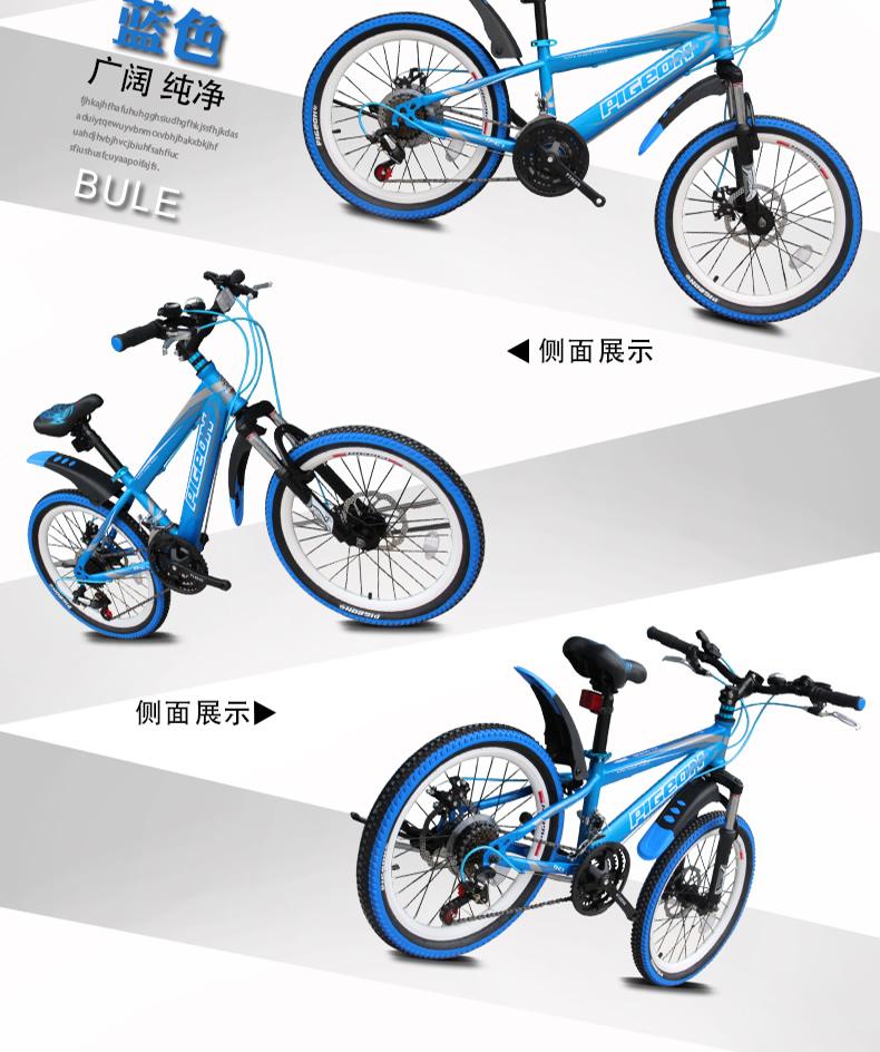 飞鸽自行车 20寸双碟刹18速儿童山地车