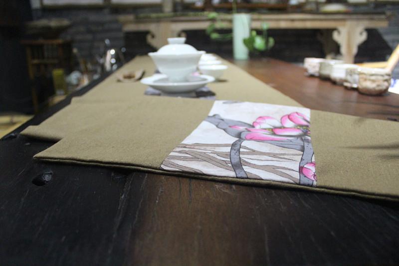手绘禅意茶席 桌旗桌布