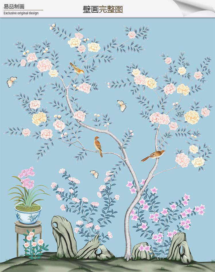 新中式花鸟壁画贴图
