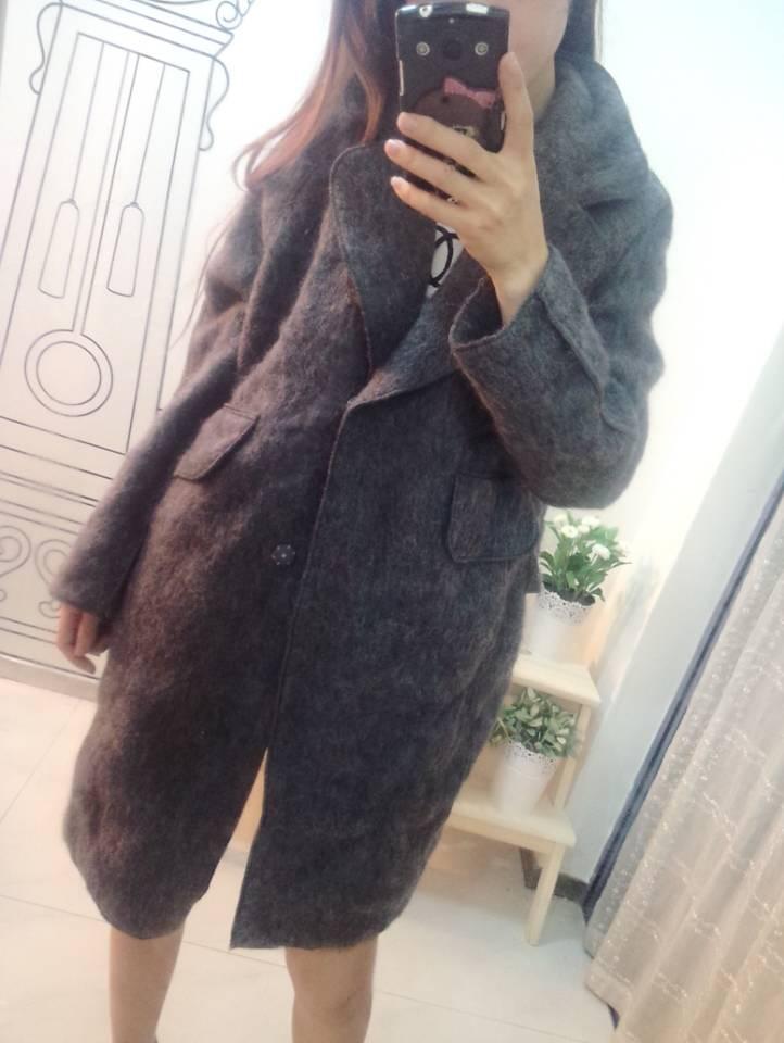 红晶灵2014女装秋冬新款兔毛羊绒毛呢宽松外套b2018c9967 卡其色 均码图片