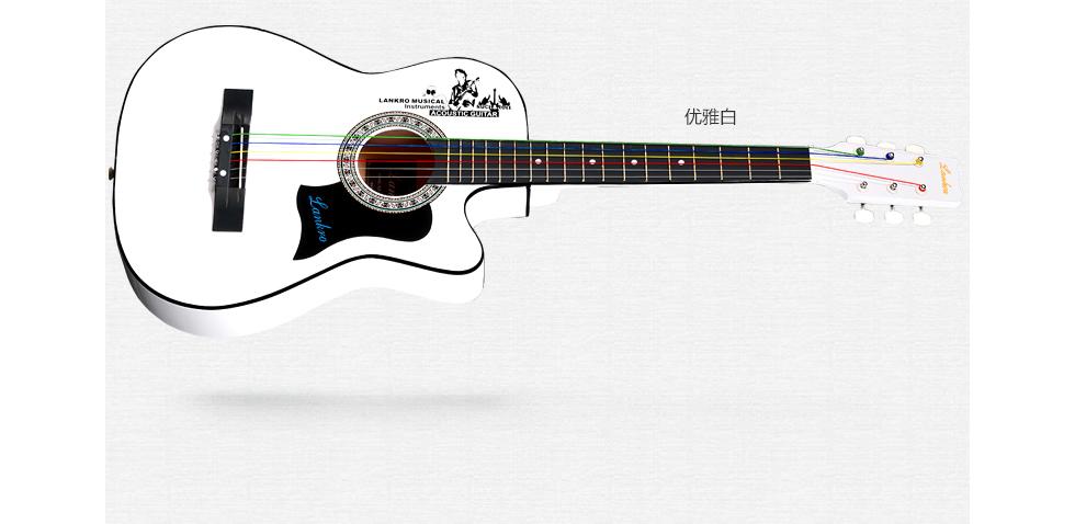 卢森rosen民谣吉他入门木吉他jita初学吉它 蓝色