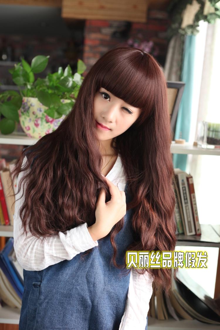 女生玉米烫假发长卷发女蓬松齐刘海长假发jiafa发型发套假头发黑色