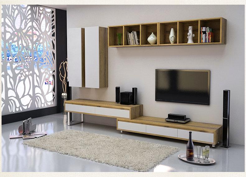 雅术 简约现代电视柜墙柜组合 伸缩电视柜 d款组合