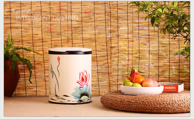 嘉佰特感应垃圾桶 时尚手绘自动家用智能垃圾桶厨房客厅创意包邮 9l乳