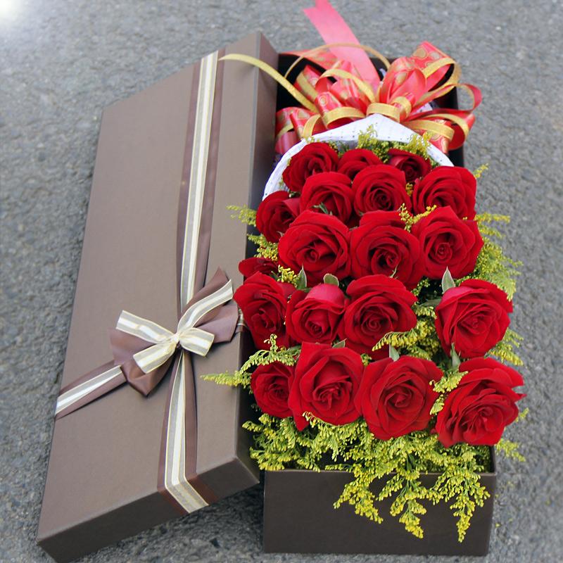 鲜花礼盒玫瑰 生日鲜花 19朵红玫瑰盒装 粉玫瑰白色礼盒款式