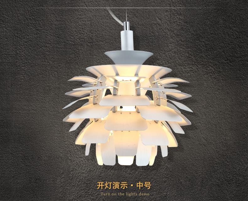 设计师灯坊 后现代北欧个性创意松果铝材吊灯 客厅餐厅卧室吊灯工程图片