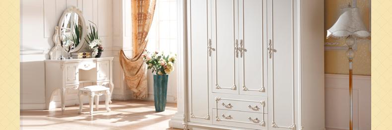 法昂 卧室家具 法式实木衣柜 欧式四门大衣柜 白色木质组合衣柜 田园