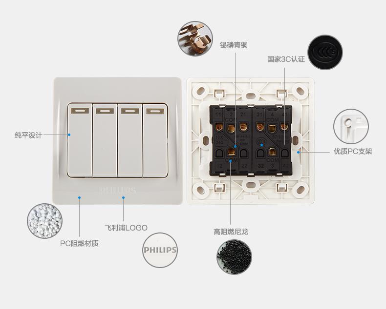 飞利浦三开单控开关如何接线,都迷糊了,原来的三开单控接线与飞利图片