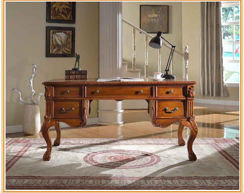 欧维佳家具 美式书桌 实木雕刻电脑桌 欧式简约书房写字桌 美式乡村