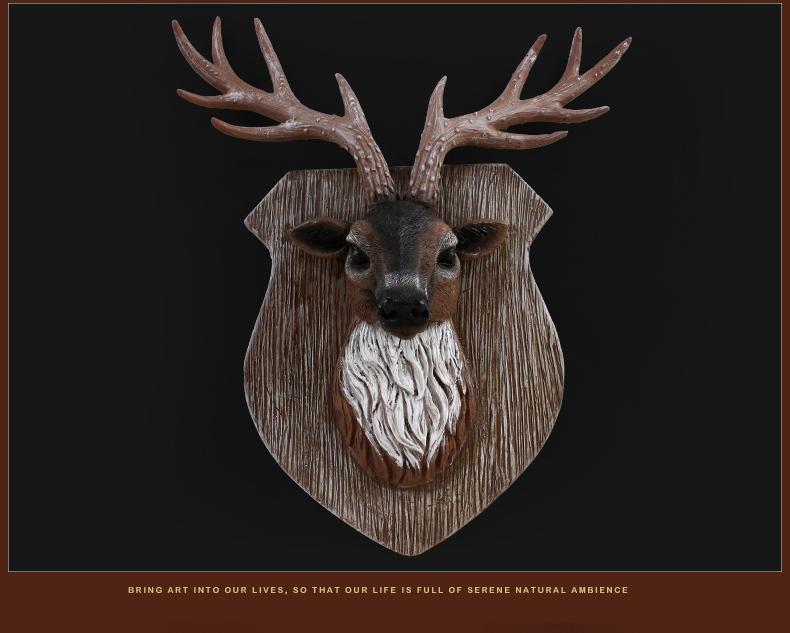 欣润 客厅墙面装饰画 鹿头装饰品 美式家居饰品 动物工艺品 壁饰 欧式图片