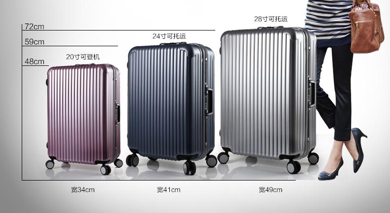 拉杆箱万向轮旅行箱 20寸24寸28寸行李箱tsa海关锁 银