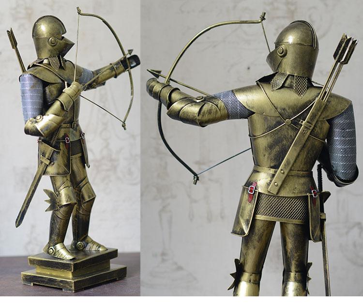 古代欧式中世纪罗马盔甲士兵武士铁艺模型酒柜工艺装饰品复古摆件hx j