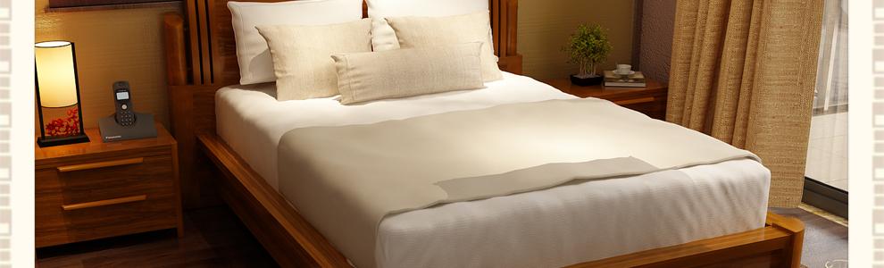 mystory 实木床 柚木双人床 板床中式现代床 床 床垫图片
