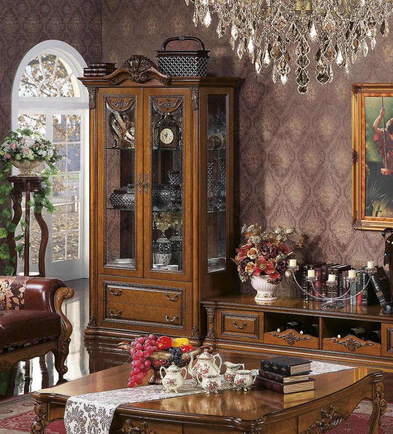 欧梦达家具欧式电视柜单双门酒柜 美式客厅陈列柜实木