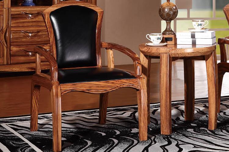 cosydream-3d 乌金木全实木书椅餐椅带扶手椅 真皮休闲椅
