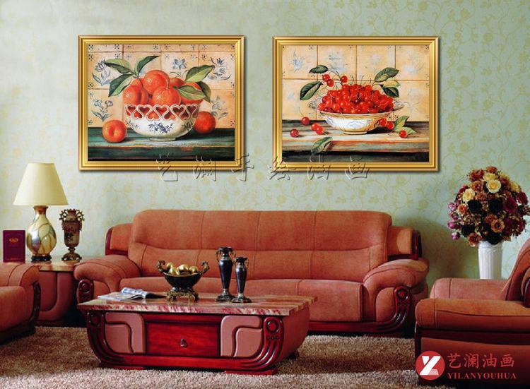 艺澜樱桃水果装饰油画餐厅饭馆墙壁挂画 纯手绘油画定制拼套组合mj297图片