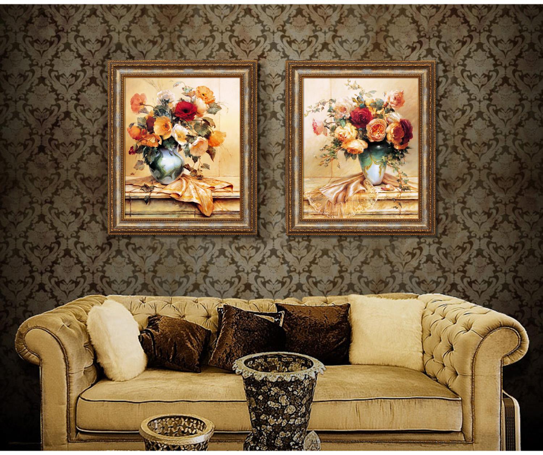 欧式美式客厅有框画卧室床头画餐厅装饰画挂画二联画