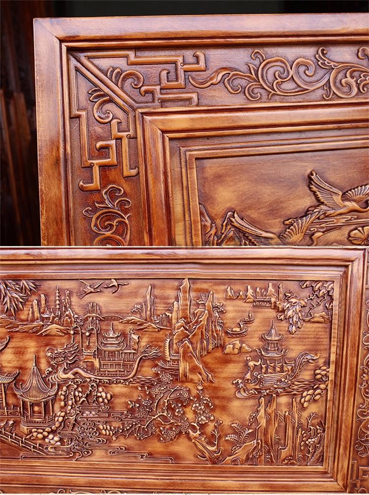 琼玛莎 东阳木雕开业牌匾工艺品 香樟木雕浮雕中式复古挂屏 木质挂匾