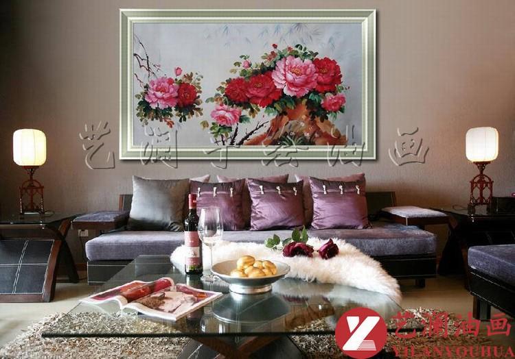 艺澜客厅沙发背景墙家居手绘油画经典花卉装饰国色牡丹花开富贵gh28