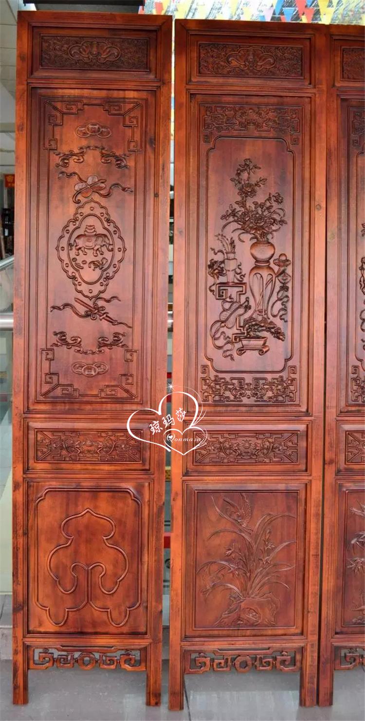 琼玛莎 东阳木雕 复古屏风家居 香木雕刻隔断 实木屏风工艺品隔档