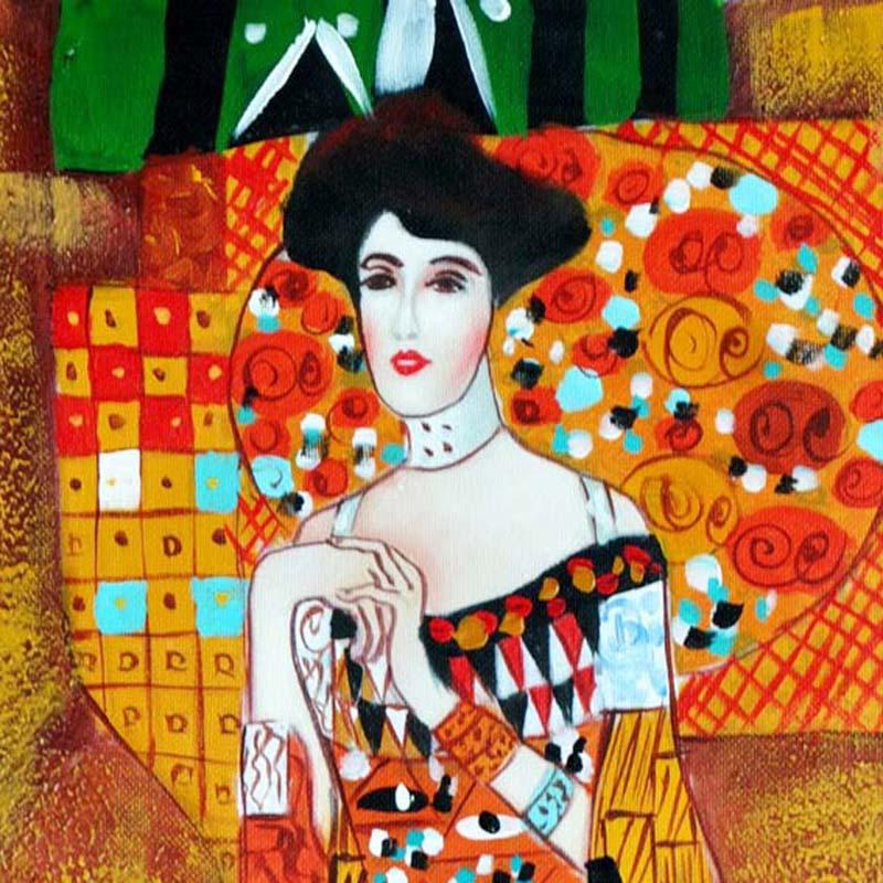 克林姆特欧式人物油画手绘有框画油画酒店办公室卧室装饰画宾馆会所