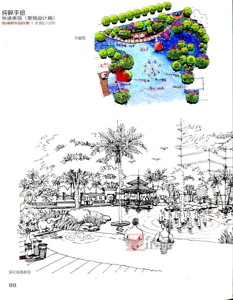 纯粹手绘 快速表现 景观设计篇 国外园林景观室外设计彩色平面立面