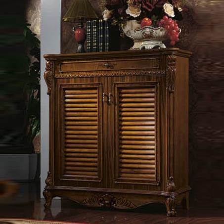 欧梦达家具 欧式实木鞋柜 美式双门柜子美式带抽屉木面收纳柜鞋 图色