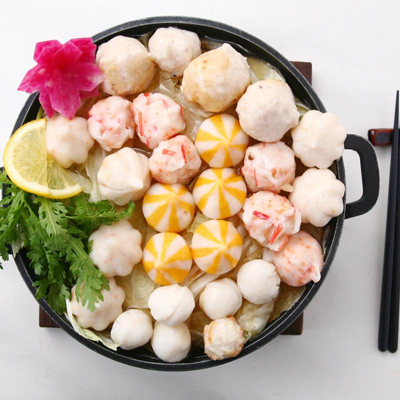 雪诺鱼丸火锅组合600g鳕鱼丸花枝丸章鱼烧丸三种组合装海鲜火锅丸子高品质鱼丸海鲜水产