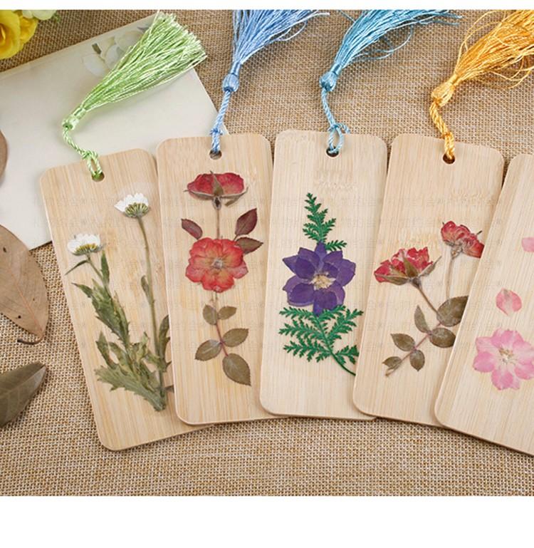 礼物约会 干花书签 手工制作鲜花真花竹片压制礼物创意植物标本带流苏