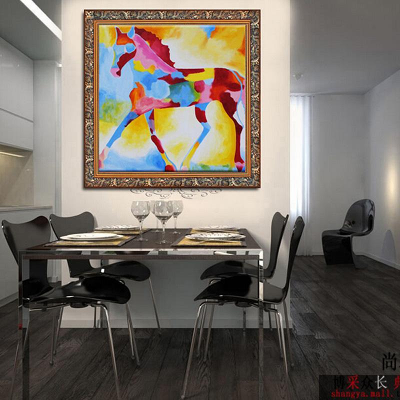 客厅餐厅装饰画卧室挂画无框画墙画玄关壁画手工油画现代 七彩马 金色图片