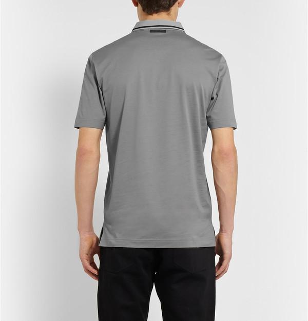 dark gray polo shirt  cotton-piqu茅 polo